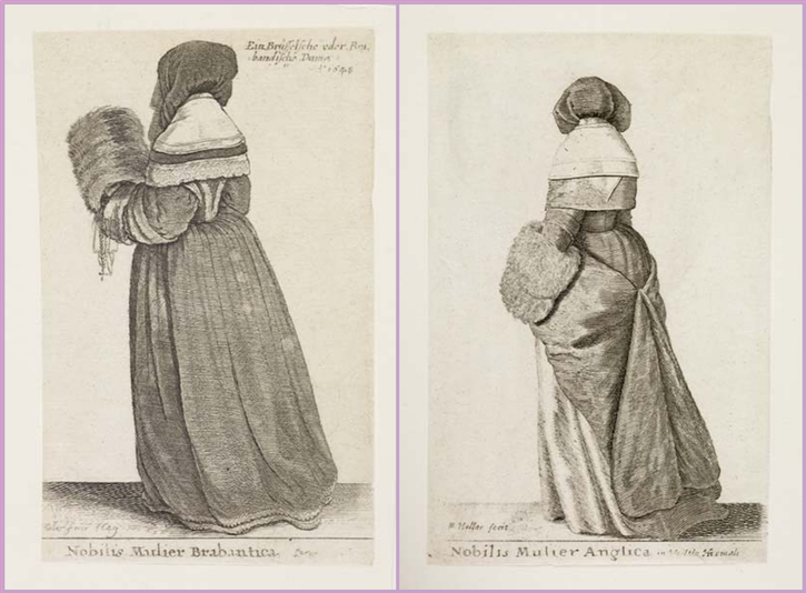 ca. 1643 English noblewoman and noblewoman of Brabant by Wenceslaus Hollar (Museum of London - London, UK) From thepragmaticcostumer.wordpress.com-category-fashion-history-1600-1700:
