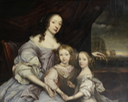 ca. 1655 (estimate based on children) Mary, Duchess of Lennox and Richmond with her children, Esmé and Mary Stuart by John Michael Wright (auctioned by Bonhams)
