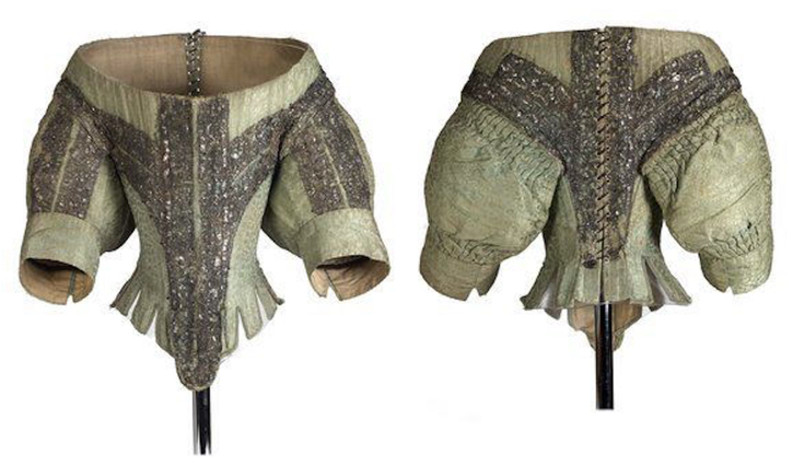 ca. 1660 Front and back of bodice with spangled silver lace (Museum of London - London, UK) From ephemeral-elegance.tumblr.com-post-147724460085-silk-bodice-with-spangled-silver-lace-ca-1660 X 2