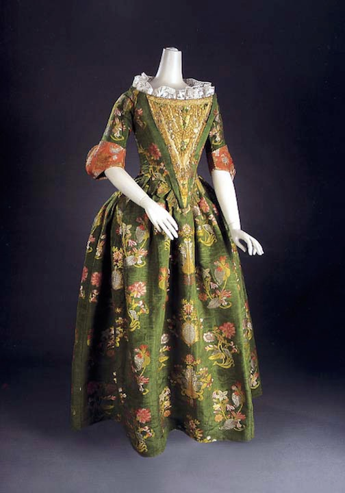 ca. 1680 (silk) Brocaded formal dress, probably Italian (location ?) From pinterest.com:krisalice:historical-fashion-1670-1690s:
