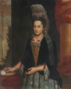 ca. 1690 Lady, half length, in a mantua gown and a lace frelange headdress by ? (auctioned by Sotheby's) size adjusted to 72 cm high at 60 pixels/cm