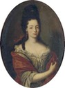 ca. 1690 Maria Angela Caterina d'Este in half-length in a silk dress with lace trimmings and a red shawl by follower of Rigaud (auctioned by Christie's)