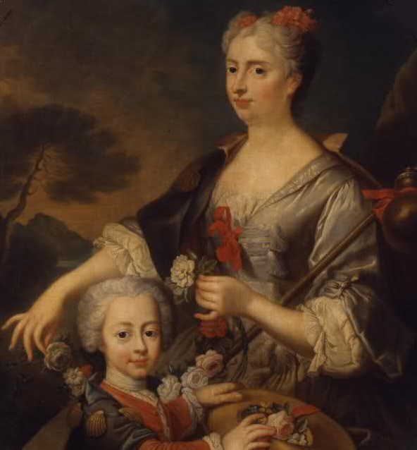 ca. 1725 Victoire Françoise of Savoy, Princess of Carignan and her son Louis Victor by ? (Palazzo Madama - Torino, Piemonte, Italy) Wm