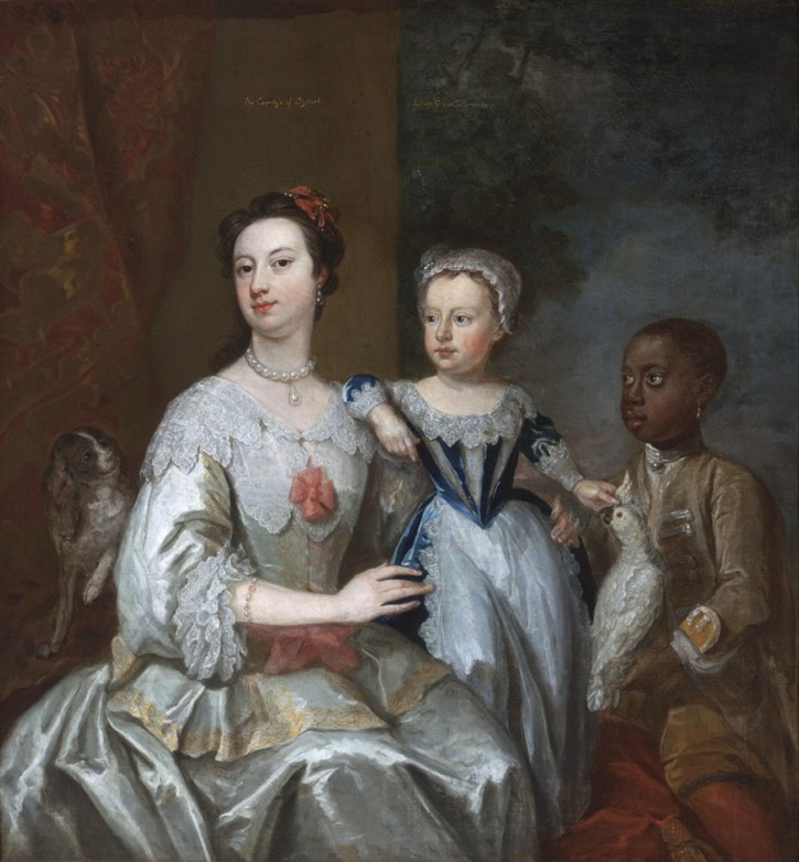 ca. 1740 Lady Grace Carteret with Child and Servant by John Giles Eccardt (Hall Gallery, Ham House - Richmond upon Thames, Surrey, UK)