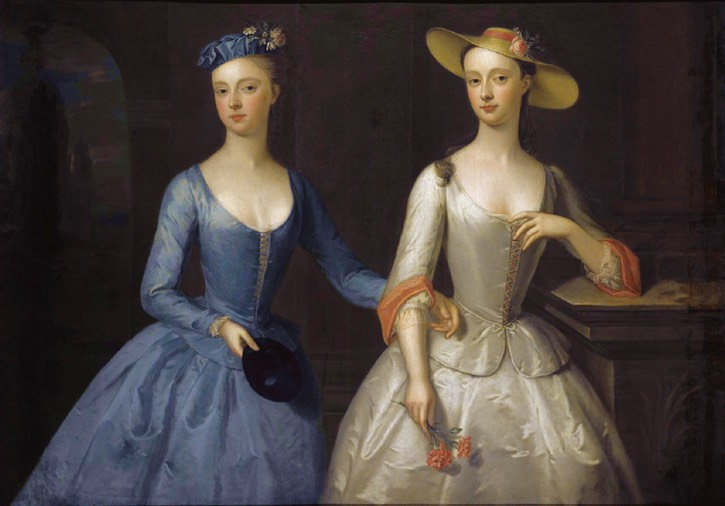 ca. 1741 Sophia and Charlotte Fermor at a masquerade of the Duchess of Norfolk attributed to Enoch Seeman (auctioned by Sotheby's) Wm UPGRADE