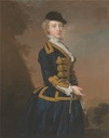 ca. 1745 Portrait of Nancy Fortescue, wearing a dark blue riding habit, with gold frogging and cap by Thomas Hudson (Yale Center for British Art - Yale University, New Havem, Connecticut USA)