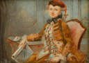 ca. 1760 Lady in Riding Dress with Dog, Possibly Marie Françoise Catherine Marquise de Boufflers by ? (Bomann Museum, Tansey Collection of Miniatures - Celle, Niedersachsen Germany)