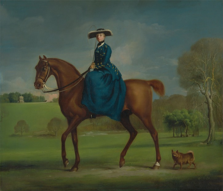 ca. 1760 Margaret Newton, 2nd Countess Coningsby in the Costume of the Charlton Hunt by George Stubbs (Yale Center for British Art, Yale University - New Haven, Connecticut, USA) Google Art Project via Wm