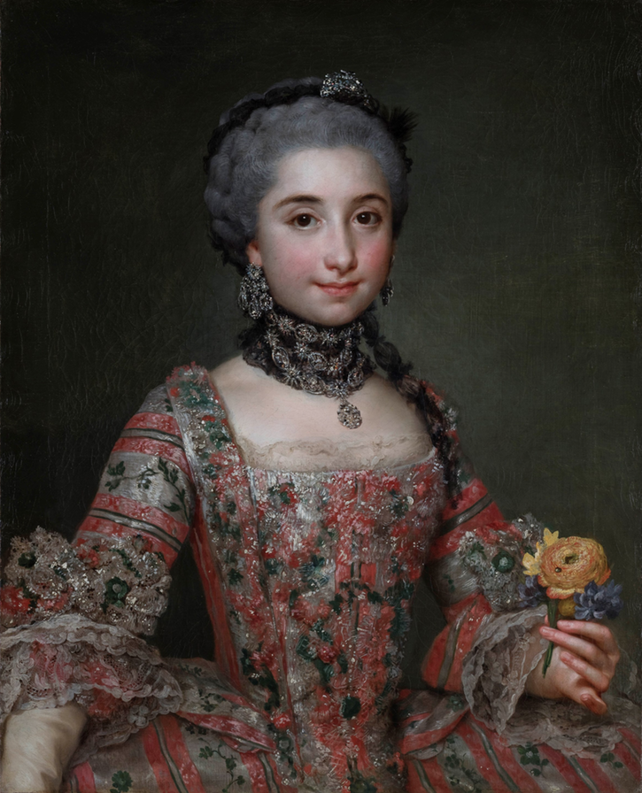 ca. 1763 Isabel Parreño age 12 by Anton Rafael Mengs (on sale at Galleria Canesso - Lugano) From the museum's Web site