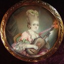 ca. 1773 (estimate based on coiffure) Marie Clotilde of France (Madame Clotilde) with a guitar after François Hubert Drouais (location unknown to gogm)