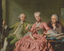 ca. 1775 Duc de Choiseul, his mistress, the Comtesse de Brionne and the Abbé Barthélmy by Jacques Wilbaut (Getty Museum - Los Angeles, California USA)