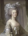 ca. 1785 Marie-Antoinette d'Autriche, Queen of France, wearing a dress with paniers by Élesabeth-Louise Vigée-Lebrun (Versailles)