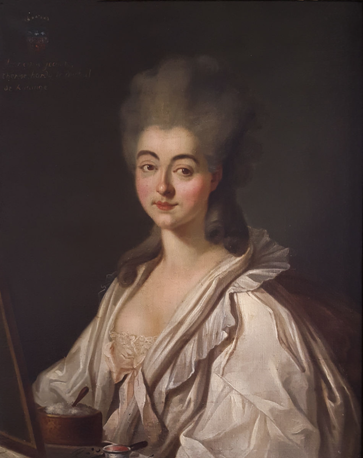 ca. 1780 Françoise Jeanne Thérèse Hardyle, duchesse de Rurange by circle of Louise-Élisabeth Vigée-Lebrun or unknown (auctioned by Jean-Marc Delvaux) fixed left side of upper edge