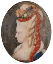 ca. 1785 Marie Antoinette oval by ? (for sale at Boris Wilnitsky Fine Arts) From teaattrianon.blogspot.com:2016:11:miniature-on-ivory.html