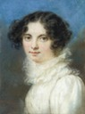 ca. 1815-1820 Princess Lopukhina, in white dress with frilled collar, dark curly hair by ? (auctioned by Christie's)