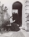 ca. 1863 Lady Frances Jocelyn reading a letter in the courtyard of White Rock Villa, St Leonards-on Sea, Hastings by ? From photohistory-sussex.co.uk:HastingsJocelyn.htm fixed left half of lower edge