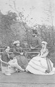 ca. 1866 Francis, Duke of Teck (1837-1900), Mary Adelaide, Duchess of Teck (1833-1897), Duke Philipp of Wuerttemberg (1838-1917) and Duchess Marie Therese of Wuerttemberg nee Archduchess of Austria (1845-1927) in England