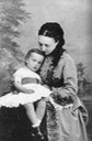 ca. 1871 (based on age of child) Grand Princess Olga Feodorovna Romanova of Russia with her Grand Duke Sergei Mikhailovich From pinterest.com/awlaurendet/romanovs-%7E-the-mikhailovichi/ removed greenish cast
