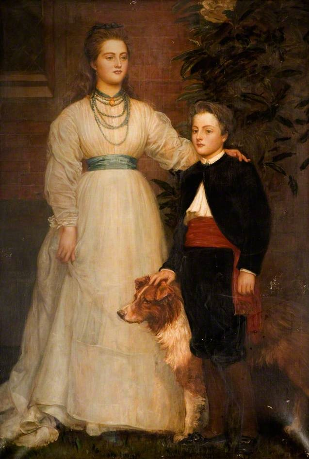 ca. 1888 (estimate based on child) Theresa Susey Helen Talbot, later Marchioness of Londonderry and Charles Henry John, Viscount Ingestre by Valentine Cameron Prinsep (Ingestre Hall Residential Arts Centre -  Ingestre, Staffordshire, UK) bbc.co