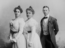 ca. 1895-1897 Princess Beatrice of Saxe-Coburg and Gotha, Duchess of Galliera with her brother Prince Alfred, Hereditary Prince of Saxe-Coburg and Gotha, and Duchess Elsa of Wurttemberg