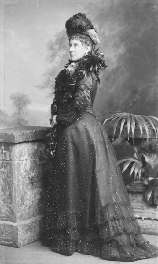 ca. 1895 Lady Meath (1847-1918), nee Lady Mary Jane Maitland wearing a dark formal dress with a feather boa and a hat with feathers by Lafayette (Chertsey Museum - Chertsey, Runnymede, London, UK) detint X 1.5