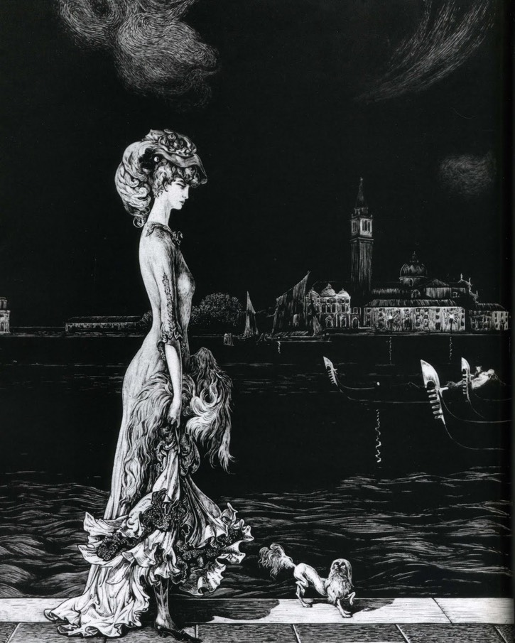 ca. 1906 Luisa Casati on one of her night strolls along the Grand Canal in Venice by Alberto Martini From hippiedeluxe.blogspot.it:2010 04 01 archive.html