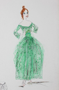 ca. 1916 Lucile studio fashion sketch of midi-length green dress From liveauctioneers.com/item/25552147_lucile-studio-fashion-sketches-circa-1916-two-signed X 2