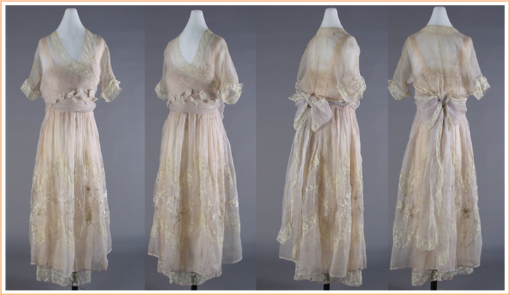 ca. 1918 Virginia Palmer Bradfield Ward's trousseau dress by Lucile (Henry Ford Costume Collection, Wayne State University - Detroit, Michigan USA)