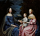 ca. 1665 Anne with her niece and daughter-in-law, Maria Theresa of Spain, and grandson, Louis by Charles Beaubrun (auctioned by Sotheby's)