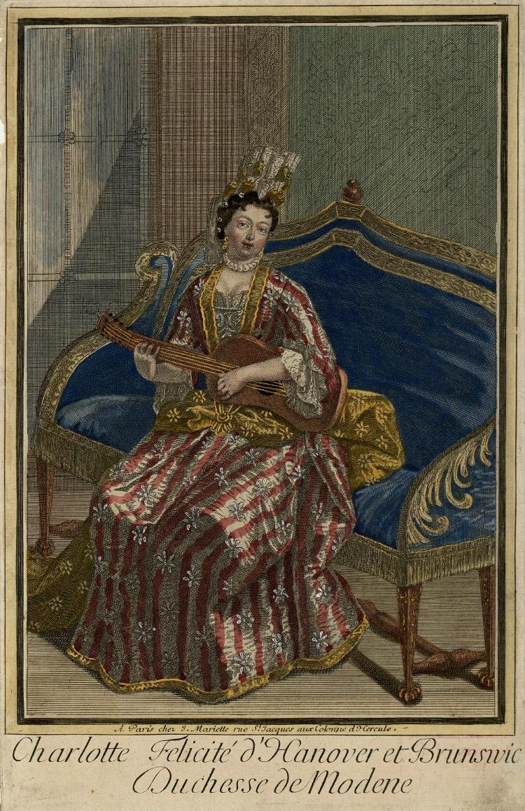 1696 Charlotte, Duchess of Modena, playing a guitar and wearing a striped