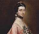 ca. 1763 Mary Little, Later Lady Carr by Thomas Gainsborough (Yale Center for British Art - New Haven, Connecticut USA) hair jewelry and lace neckline ornament