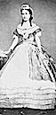 Carlota wearing an 1860s evening dress