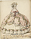 1787 Figure de mode - dame en robe de cour ou nouvelle étiquette by Charles Germain de Saint Aubin (Les Arts Decoratifs - Paris France)