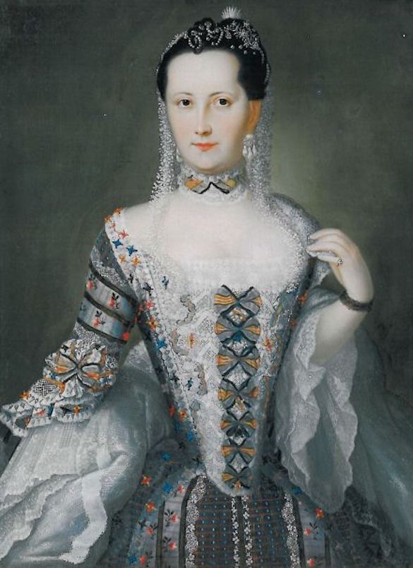 Christine-Henriette von Stolberg, Countess of Hochberg (1738–1776) attributed to Cristóbal Lozano (location ?) From pinterest.com/LisaHoSu/baroque-women/?lp=true