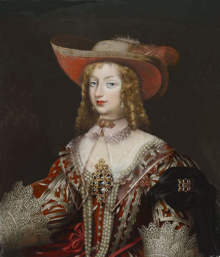 Christine Marie of France (1606-1663), Duchess of Savoy by ? (location ?) From pinterest.com/ekrahnstver/17-jh/ Fixed all edges, redid lower left corner, despot