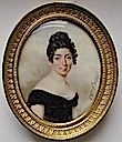 Comtesse de Choffault by Charles Berny d'Ouville in low-cut black velvet dress with white underslip, her parted black hair tied in ringlets, plait and plaited bun (auctioned by Christie's)