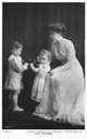 Crown Princess Margaret with two children post card