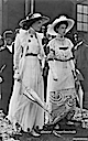 Crown Princess Cecilie and companion with parasols