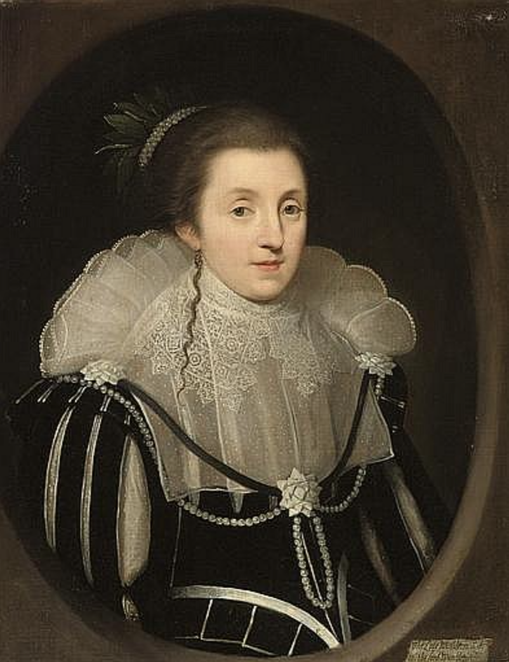 Diana Drury, Viscountess Wimbledon, in a black dress with slashed sleeves, pearls and ribbons by circle of Paul van Somer (auctioned by Christie's) From invaluable.com-auction-lot-circle-of-paul-van-somer-antwerp-c.-1576-1621-lo-61-c-oi0zl7tgob#