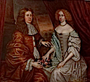 Double Portrait of Charles, 5th Earl of Haddington and Margaret, Countess of Rothes by circle of John Michael Wright (Clan Leslie Charitable Trust - Leslie, Fife UK)
