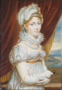 Duchess of Angoulême (1778-1851), standing in sprigged white dress with ruff, pearl necklace and pearls in her fair hair, wearing gloves and holding a small book by ? (auctioned by Christie's)