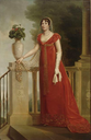 Elisa wearing a red dress attributed to François Joseph Kinson (Château Fontainebleau, Fontainebleau Ftance)