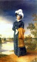 1820-1825 Elisabeth Alexeievna wearing a dark blue Empire day dress by ? (location unknown to gogm)
