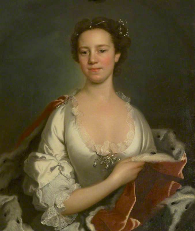 Elizabeth Ann Spencer, Wife of the 5th Duke of Hamilton by William Hoare (Brodick Castle - Brodick, North Ayrshire, UK) From artuk.org shadows