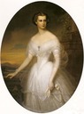 Elisabeth wearing a white dress by Eliza Turck (Castle Mairamare, Trieste Italy)