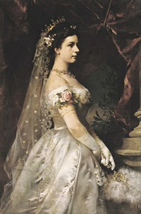 Empress Elisabeth wearing a pre-cage crinoline court dress by ? (location unknown to gogm) From empresstitania.tumblr.com:tagged:elisabeth-of-austria