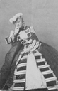 Eugénie sitting while wearing a feathered hat (Chateau Compiegne - Compiegne, Picardie, France) RMN detint shadows
