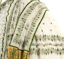 Dress and wrap, brought to Vienna by Empress Elizabeth as part of her trousseau, embroidered with Hebrew print closeup