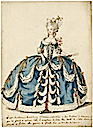 Grand habit de cour, French court gown, 18th century fashion plate