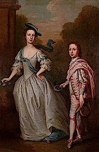 Hannah Howard and her elder son, John, later 11th Earl by Thomas Bardwell (Clan Leslie Charitable Trust)
